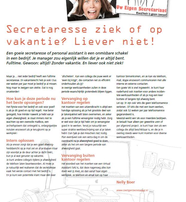 DSP magazine: Secretaresse ziek of op vakantie? Liever niet!